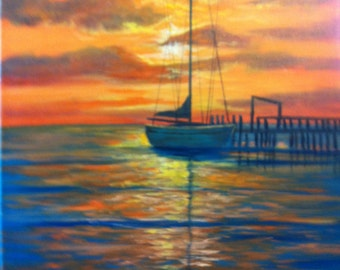 Sailboat in the Sunset.....Original Oil Painting....11 x 14 on Canvas Board