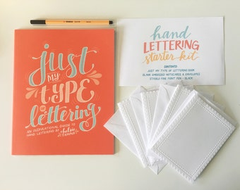 Hand Lettering Starter Kit: Just My Type of Lettering Book + Embossed Cards + Pen