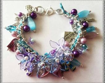 Elegant, sophisticated & glamorous ladies bracelet Blues/Pinks/Purples/pearls/flowers free shipping