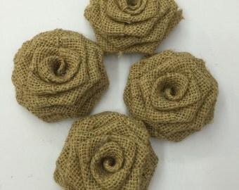 "6 Pcs Natural Burlap Rosettes Burlap Roses Fabric Flowers 2.8"" Rustic Wedding Flowers Wholesale flowers  Decorative Flowers"
