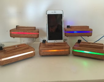 iPhone 6 and 7 Docking Station With Night Light in Oak
