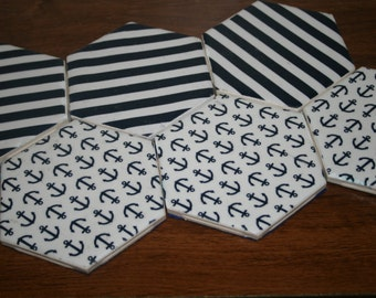 Navy and white nautical coasters