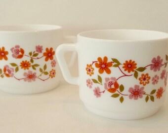 1970's Vintage Retro Arcopal Milk Glass Teacups In Scania Design