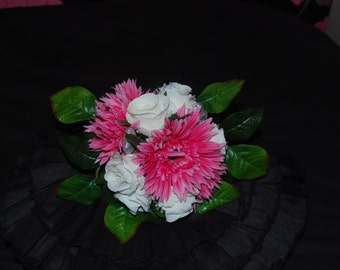 Pink and cream bridal posy