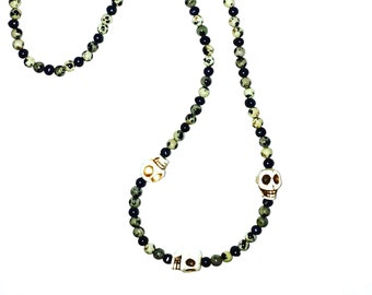 Mother of Pearl and Dalmatian Crystal Skull detail necklace