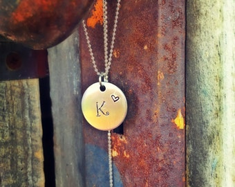 Hand stamped initial charm necklace