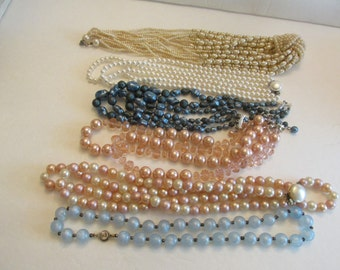 Huge Lot of 33 All Vintage Beaded Necklaces
