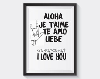 "LOVE LANGUAGES PRINT   8.5"" x 11"" wall art"