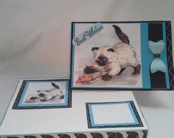 Cute playful 3d kitty birthday card