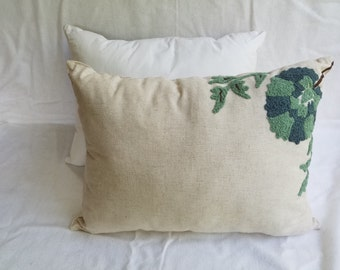 Khaki with Blue/Green Flower Pillow