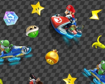 "Nintendo Fabric: Nintendo Super Mario Game - Racing Car Characters with checker background 100% cotton fabric by the yard 36""x43"" (SC47)"