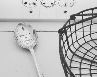 Hand stamped spoon - you are my sunshine - vintage cutlery - stamped silverware