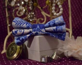 Blue Paisley Hair Bow