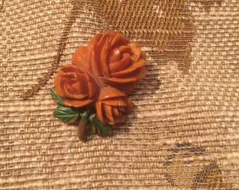 Vintage plastic/ celluloid  carved rose brooch