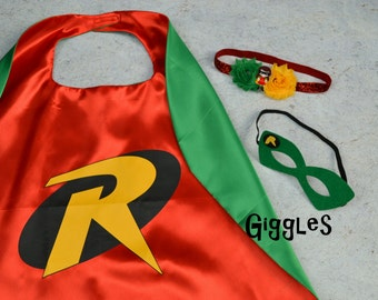 Robin Cape Mask Headband Set - Kids Costume - Superhero - Halloween - Dress Up - Boy Capes - Birthday Party Favors - Batman Sidekick Green