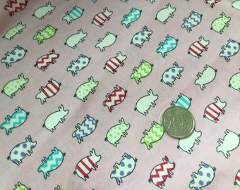 Pink Little Piggy 100% Cotton Fabric