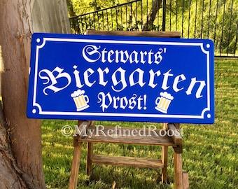 Biergarten sign, Prost, bar sign, Oktoberfest, beer garden, german bar, german sign, octoberfest