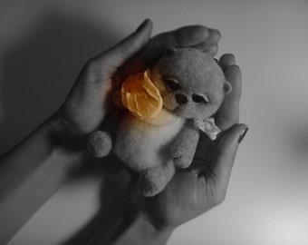 OOAK Needle felted  bear. Miniature sculpture bear. Original handmade soft sculpture bear. Felt toy bear. As a gift. Realistic bear.