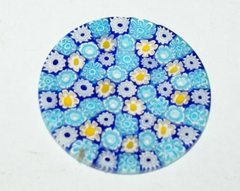Murrine Millefiore Murrini Millefiori Murano Celeste 41 mm. Round Venice Murano Glass Original do-it-yourself