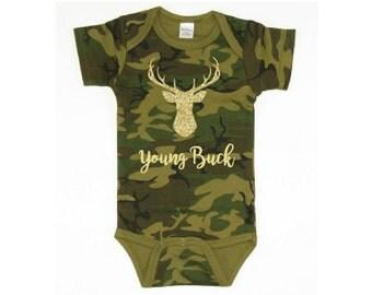 Gold Young Buck Onesie Deer Head Camo Baby