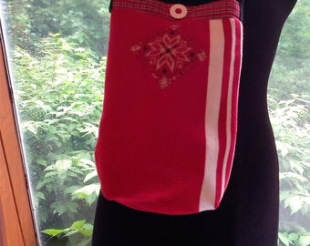 Red Snowflake and Stripes Sweater Bag