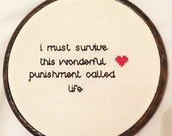 I Must Survive Cross Stitch, Hanging Wall Art