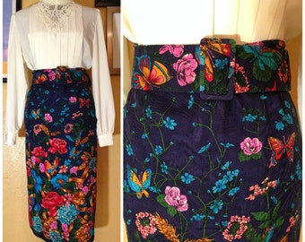 butterflies and flowers blue 80s 90s skirt with adjustable belt