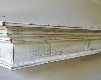 "Free Shipping**Mantel or shelf / distressed white / 8"" deep x 7.5 "" tall"