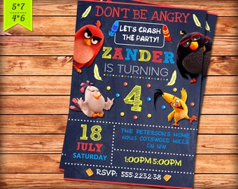 Angry Birds Invitation. Printable Angry Birds Party - Digital Invitation. Angry Birds Birthday Invite - Personalized Invitation Card.