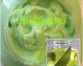 8 oz. Eucalyptus Whipped Sugar Scrub (Vegan Exfoliate Body Scrub)