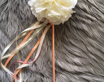 Ivory & Peach Flower Girl Wand / Wedding Accessory / Fairy Wand / Silk / Faux Flower Wand / Fake Flowers / Junior Bridesmaid / Rose Ball