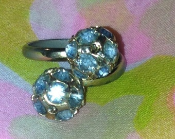 Fabulous Blue Rhinestone Ball Ring