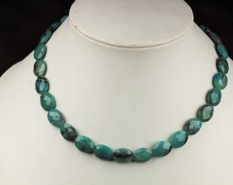 24 piece faceted CHRYSOCOLLA oval beads 13 x 10 mm