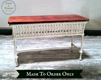Miniature Wicker Table Made-To-Order Dollhouse Furniture 1:12 Artisan Made