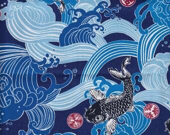 fabric 48cm Japanese Koi Carp design (Bleu)