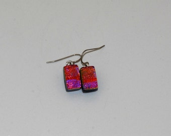 Hot pink dichroic glass earrings