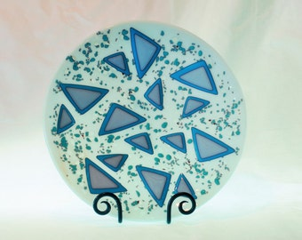Opaque White and Turquoise Triangle Glass Bowl