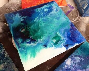 Blue resin art