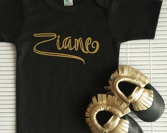Personalized Name Onesie, Custom Name Onesie, Black Name Shirt, Black and Gold Onesie, Baby Clothes Gift