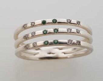 Clear Zircons Round Gemstones three hoops ring, Gold Filled Ring, Gold Gemstone Ring, Birthstone Ring Cushion Cut, Delicate Ring, Handmade