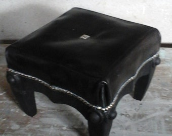 Leather and oak footstool