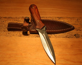 Double Edge Small Damascus Dagger with cocobolo grips