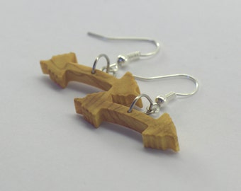 Dumbbell - earrings in olive wood