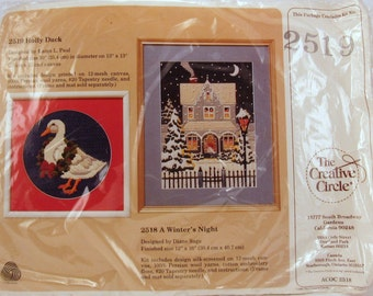 "Vintage Crewel Needlework Kit - 1986 ""Holly Duck"" by The Creative Circle by Karen L. Paul #2519"