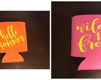 Design Your Own Can Cooler -- More Samples in Pictures -- Summer -- Wedding -- Name -- Monogram -- Bridal Party