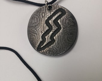 Damascus lightning bolt necklace