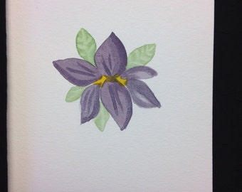 Purple Hibiscus Watercolour Print Card - BLANK INSIDE