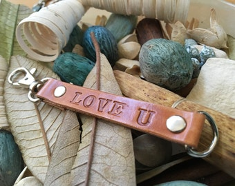 "Ready-to-Ship, Hand-Stamped, Saddle Brown, Vegetable-Tanned, Leather ""Love U"" Key Fob, Key Ring, Key Chain, Purse Charm, Bag Charm"