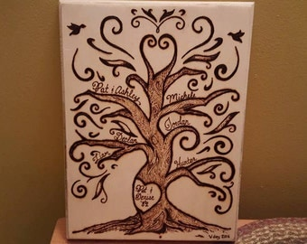 Personalized Handmade Family Tree - Pyrography
