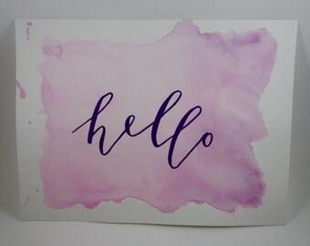 """Watercolor Art """"hello"""""""